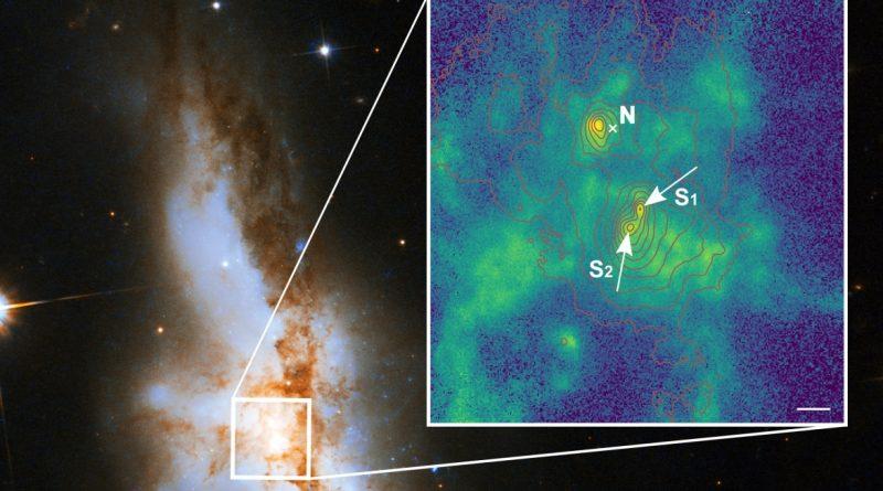 Detectan tres agujeros negros supermasivos en el centro de una colisión galáctica