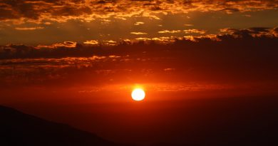 Fotografías de la puesta del Sol tomadas desde Farellones, Chile