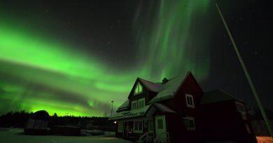 Imagen de auroras boreales tomada desde Porjus, Suecia