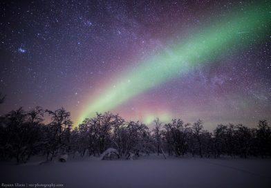 Fotografía de auroras boreales tomada desde Kaamanen, Finlandia