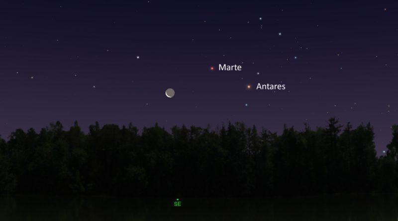 La conjunción de la Luna, Marte y Antares será visible antes del amanecer del 21 de enero